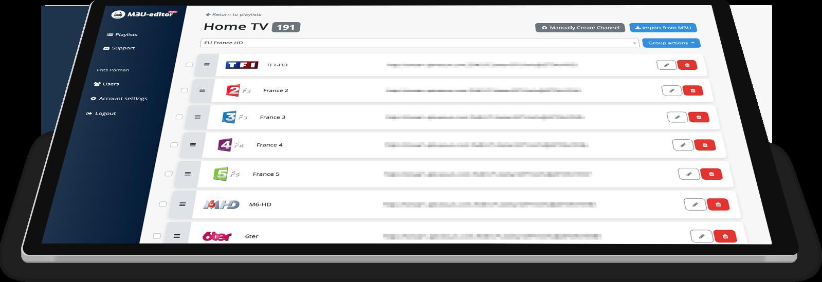 M3U-editor   Edit your M3U playlists online, for free!